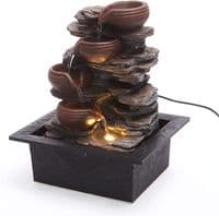 Cascading Bowls On Rocks Indoor Water Feature Fountain